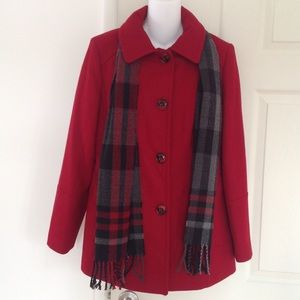 London Fog Red Pea Coat with Scarf Medium Women's